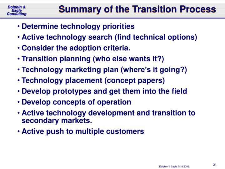 Summary of the Transition Process