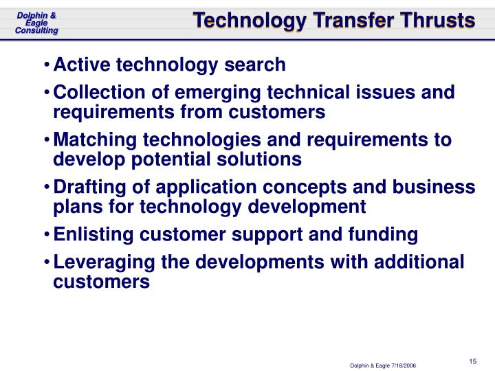 Technology Transfer Thrusts