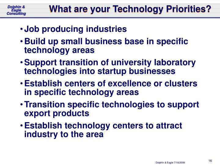What are your Technology Priorities?