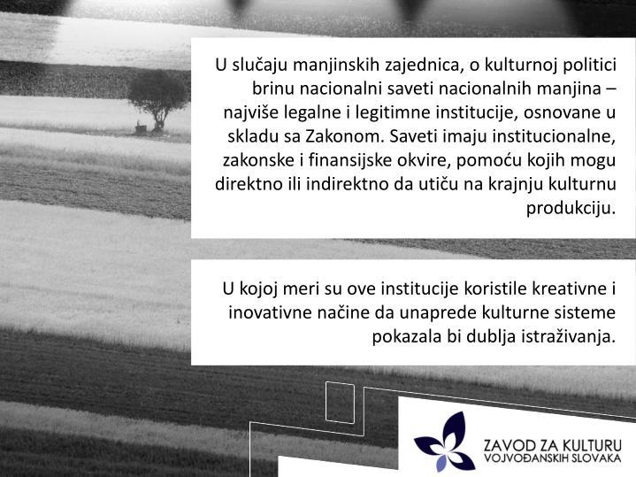 U sluaju manjinskih zajednica, o kulturnoj politici brinu nacionalni saveti nacionalnih manjina  najvie legalne i legitimne institucije, osnovane u skladu sa Zakonom. Saveti imaju institucionalne, zakonske i finansijske okvire, pomou kojih mogu direktno ili indirektno da utiu na krajnju kulturnu produkciju.