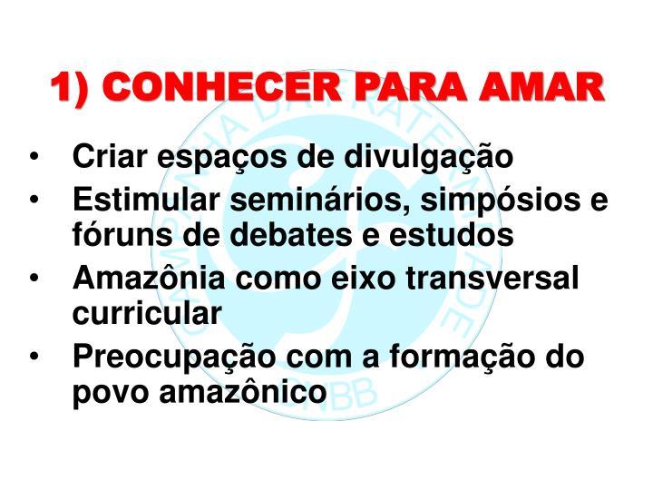 1) CONHECER PARA AMAR
