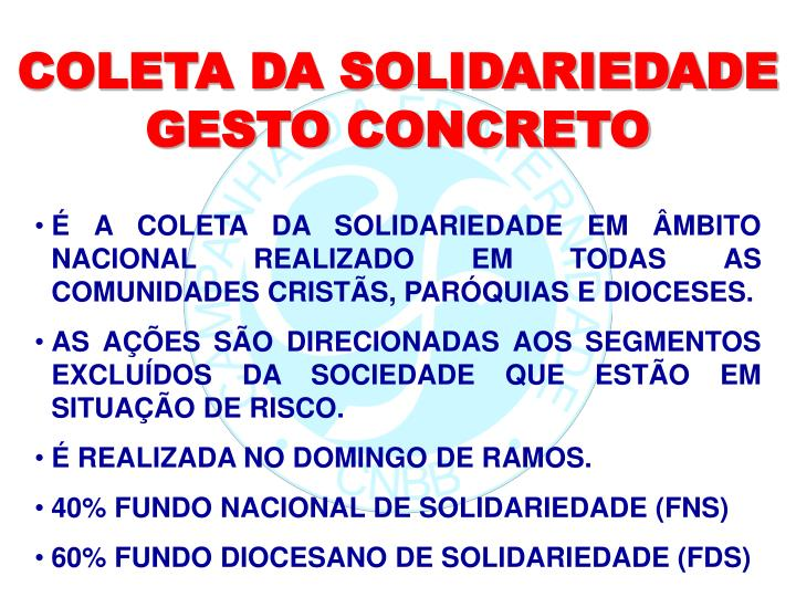 COLETA DA SOLIDARIEDADE  GESTO CONCRETO