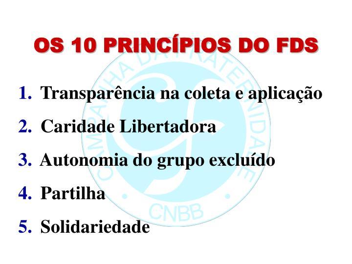 OS 10 PRINCÍPIOS DO FDS