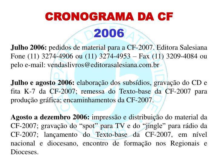 CRONOGRAMA DA CF