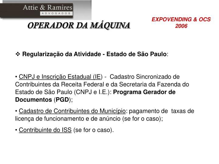 Regularização da Atividade - Estado de São Paulo