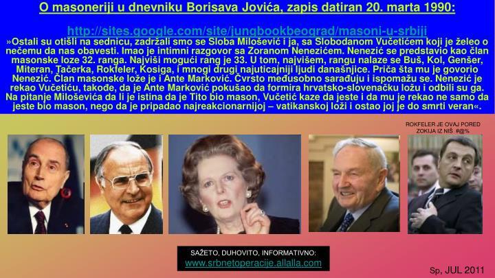 O masoneriji u dnevniku Borisava Jovi
