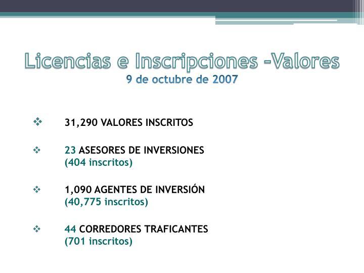 Licencias e Inscripciones –Valores