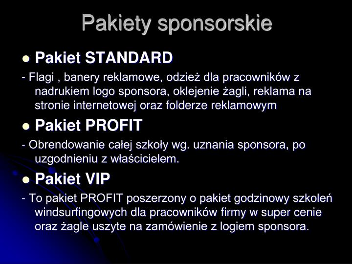 Pakiety sponsorskie