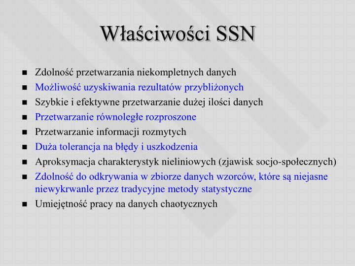 Właściwości SSN