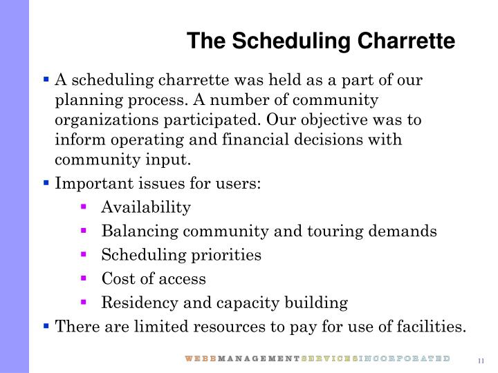 The Scheduling Charrette