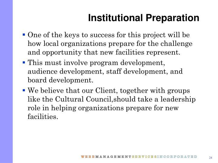 Institutional Preparation