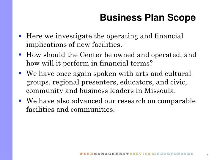 Business Plan Scope