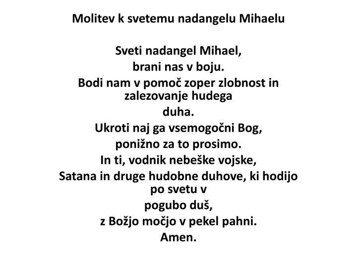 Molitev k svetemu nadangelu Mihaelu