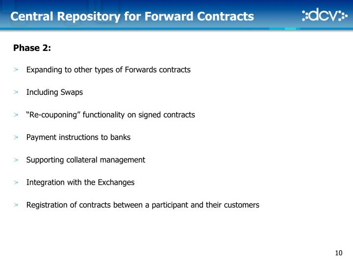 Central Repository for Forward Contracts