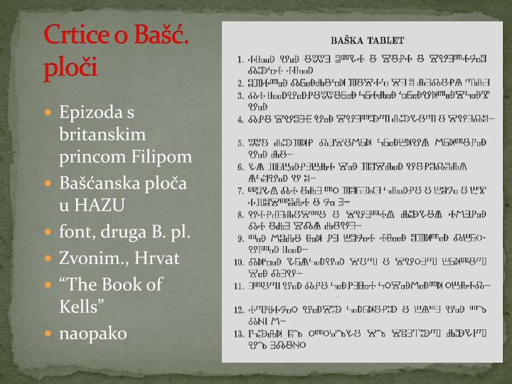 Crtice o Bašć. ploči