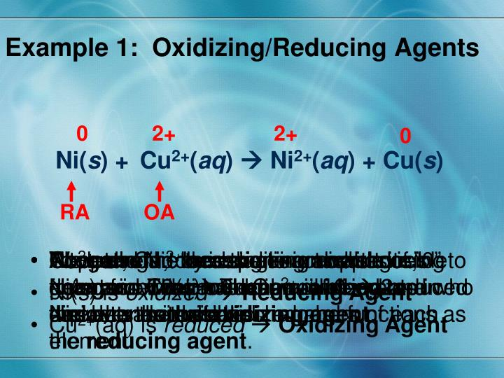 Example 1:  Oxidizing/Reducing Agents