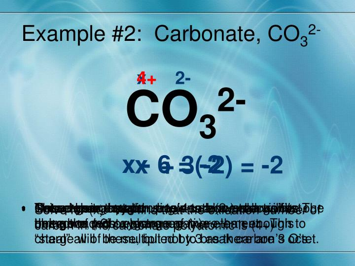 Example #2:  Carbonate, CO