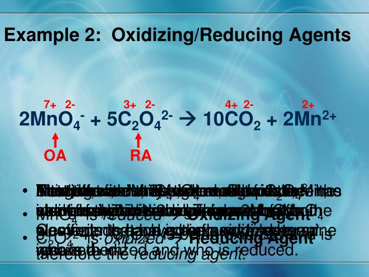 Example 2:  Oxidizing/Reducing Agents