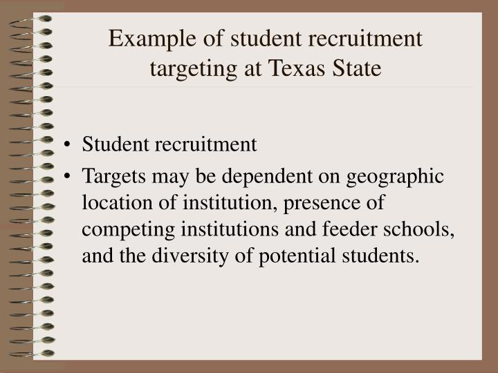 Example of student recruitment targeting at Texas State
