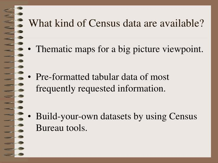 What kind of Census data are available?