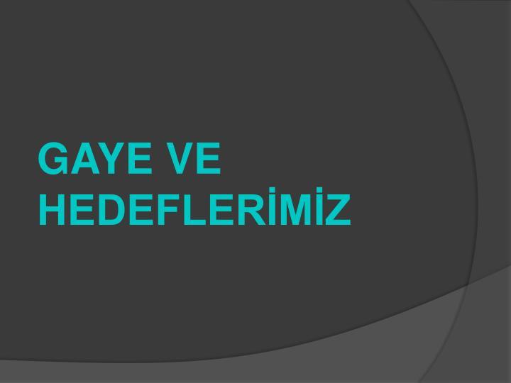 GAYE VE HEDEFLERİMİZ