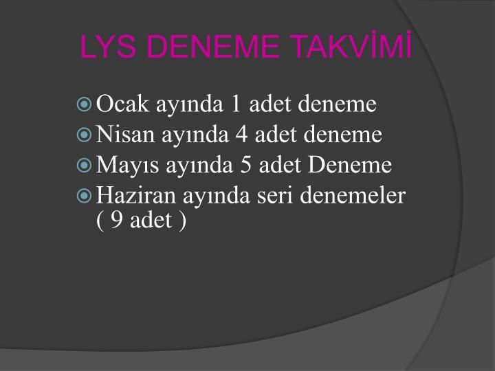 LYS DENEME TAKVİMİ