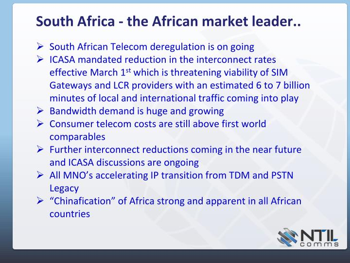 South Africa - the African market leader..