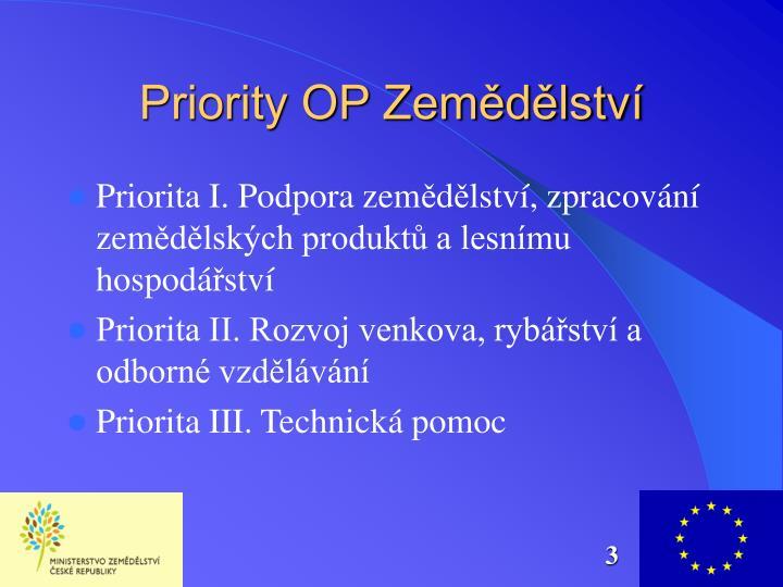 Priority OP Zemědělství