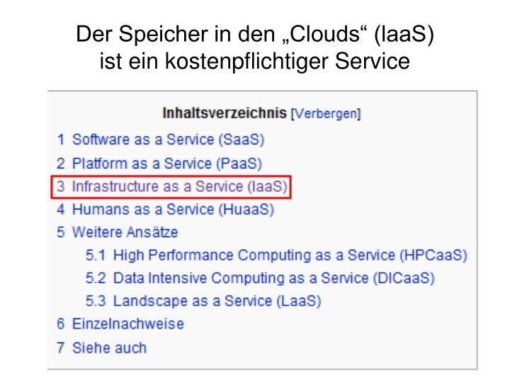 """Der Speicher in den """"Clouds"""" (laaS)"""