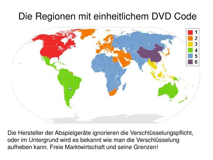 Die Regionen mit einheitlichem DVD Code