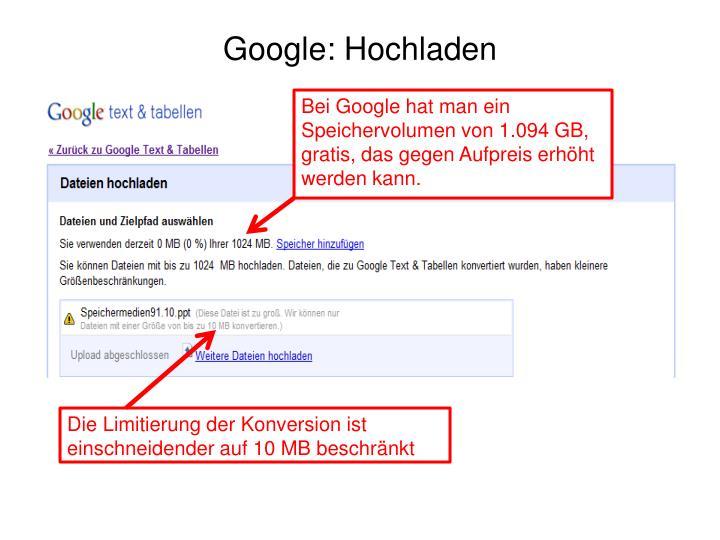 Google: Hochladen