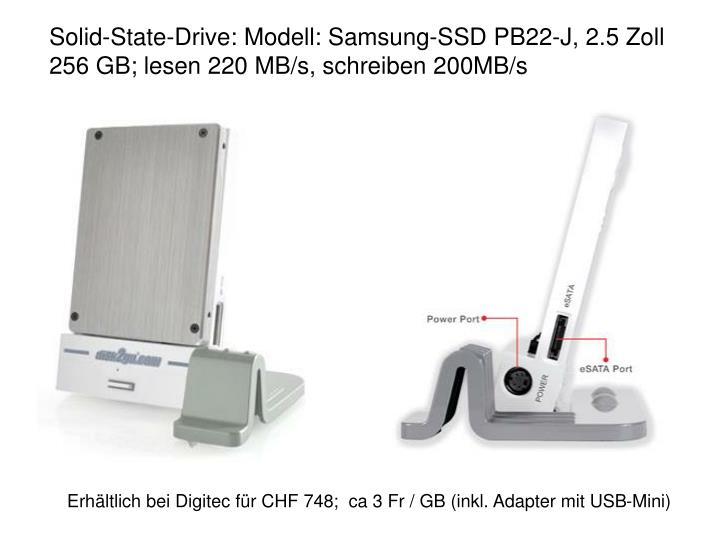 Solid-State-Drive: Modell: Samsung-SSD PB22-J, 2.5 Zoll