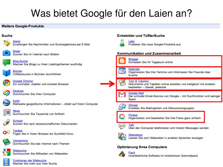 Was bietet Google für den Laien an?