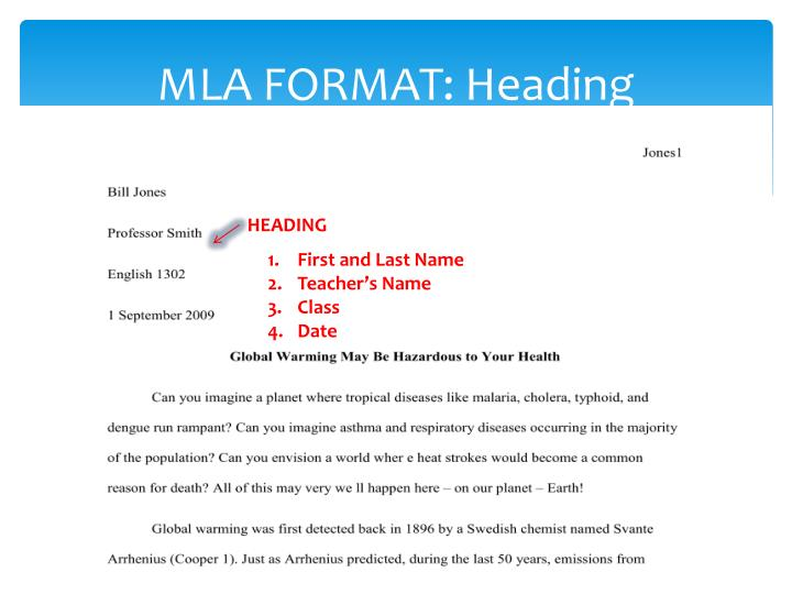 what information belongs in the heading of an mla-style essay Below are some basic guidelines for formatting a paper in mla style  more  information on headings, please see page 146 in the mla style manual and  guide.