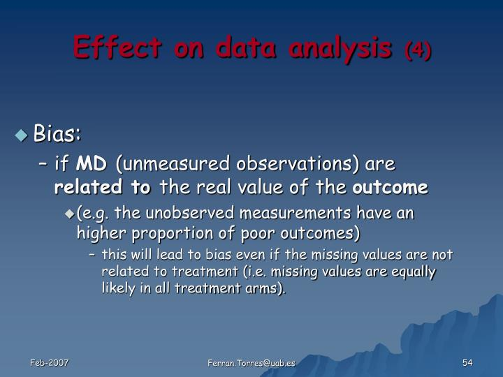 Effect on data analysis