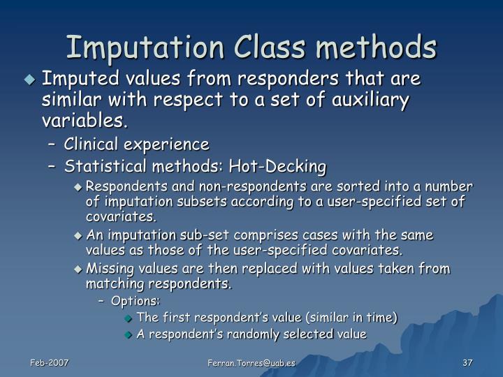 Imputation Class methods