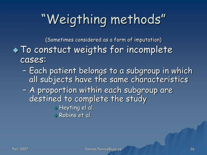 """Weigthing methods"""