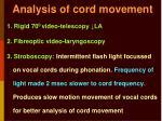 analysis of cord movement