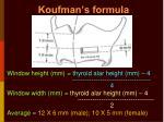 koufman s formula