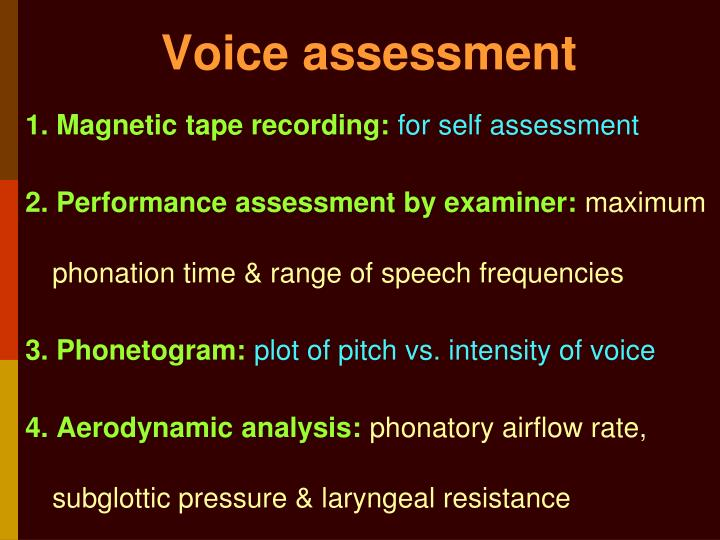 Voice assessment
