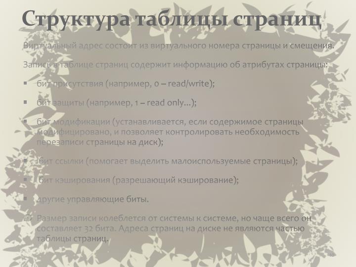 Структура таблицы страниц