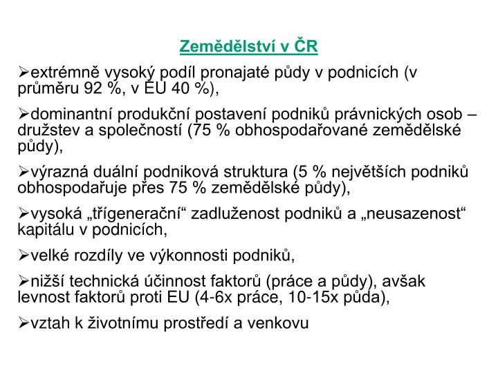 Zemědělství v ČR