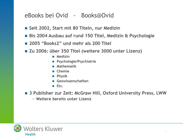eBooks bei Ovid   -   Books@Ovid