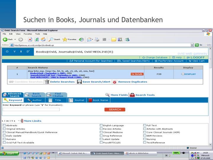 Suchen in Books, Journals und Datenbanken