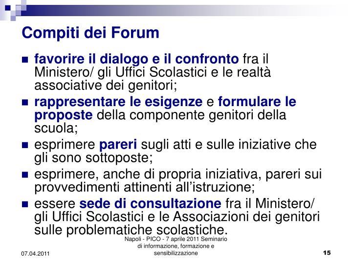 Compiti dei Forum