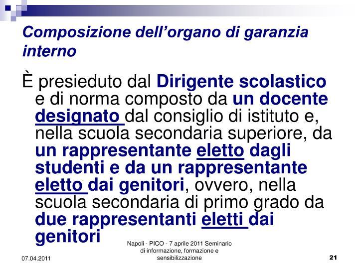 Composizione dell'organo di garanzia interno