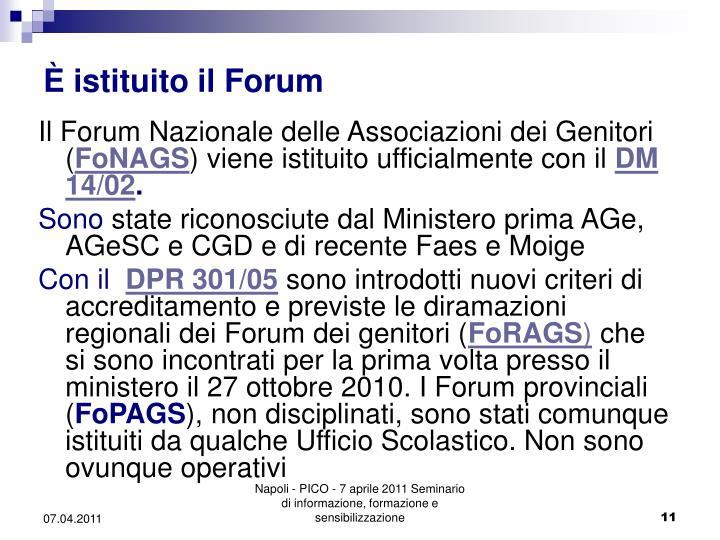 È istituito il Forum