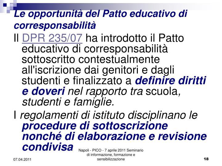 Le opportunità del Patto educativo di corresponsabilità