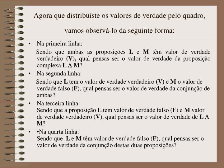 Agora que distribuíste os valores de verdade pelo quadro, vamos observá-lo da seguinte forma: