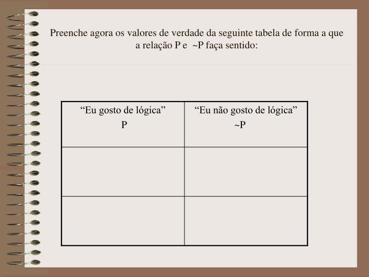 Preenche agora os valores de verdade da seguinte tabela de forma a que a relação P e  ~P faça sentido:
